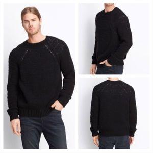 VINCE Raglan Wool-Blend Knit Crew Sweater Black S